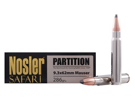 Nosler Safari Ammunition 9.3x62mm Mauser 286 Grain Partition Box of 20