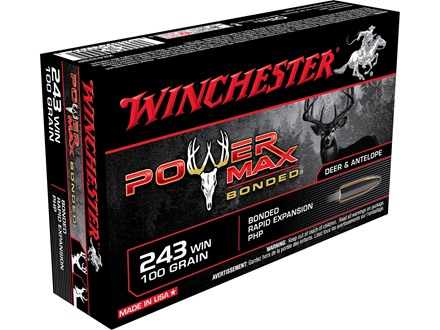 Winchester Super-X Power Max Bonded Ammunition 243 Winchester 100 Grain Protected Hollow Point Box of 20