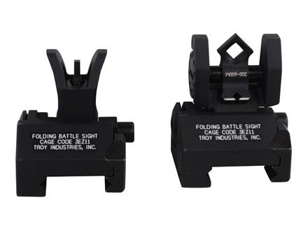 Troy Industries Micro Flip-Up Battle Sight Set M4-Style Front and Di-Optic Aperture (DOA) Rear AR-15 Aluminum Black