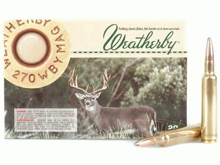 Weatherby Ammunition 270 Weatherby Magnum 150 Grain Nosler Partition Box of 20