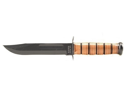 "KA-BAR U.S. Army Fighting/Utility Knife 7"" Carbon Steel Clip Point Blade Black Stacked Leather Handle with Leather Sheath"