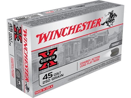 Winchester USA Cowboy Ammunition 45 Colt (Long Colt) 250 Grain Lead Flat Nose Box of 50