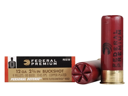 "Federal Premium Personal Defense Ammunition 12 Gauge 2-3/4"" Reduced Recoil 00 Buckshot 9 Pellets Box of 5"