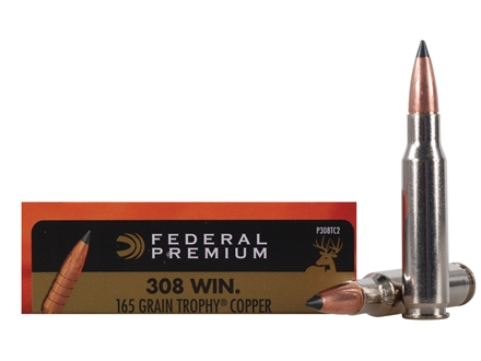 Federal Premium Vital-Shok Ammunition 308 Winchester 165 Grain Trophy Copper Tipped Boat Tail Lead-Free Box of 20