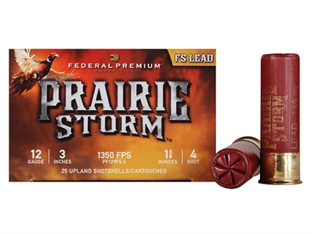 "Federal Premium Prairie Storm Ammunition 12 Gauge 3"" 1-1/4 oz #4 Plated Shot Box of 25"
