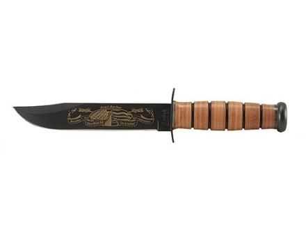 "KA-BAR Pearl Harbor Commemorative U.S. Army Fighting/Utility Knife 7"" Carbon Steel Clip Point Blade Black Stacked Leather Handle with Leather Sheath"