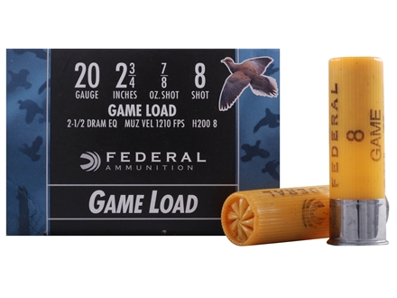 "Federal Game-Shok Field Load Ammunition 20 Gauge 2-3/4"" 7/8 oz #8 Shot Box of 25"