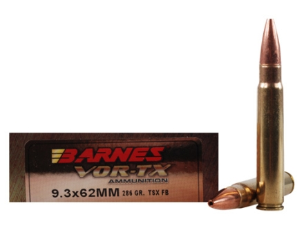Barnes VOR-TX Ammunition 9.3x62mm Mauser 286 Grain Triple-Shock X Bullet Boat Tail Lead-Free Box of 20