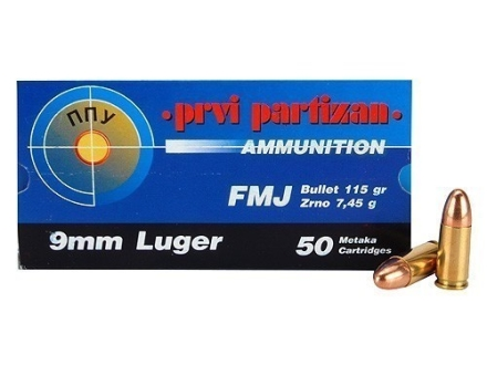 Prvi Partizan Ammunition 9mm Luger 115 Grain Full Metal Jacket Box of 50