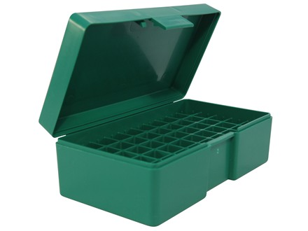 RCBS Flip-Top Ammo Box 357 Sig, 40 S&amp;W, 45 ACP 50-Round Plastic Green
