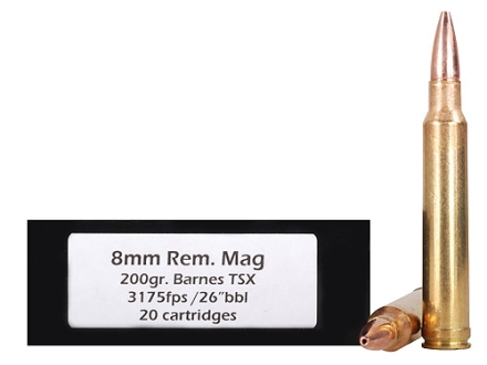 Doubletap Ammunition 8mm Remington Magnum 200 Grain Barnes Triple-Shock X Bullet Lead-Free Box of 20