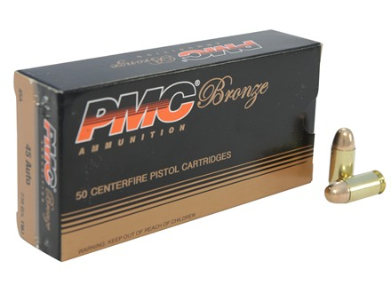 PMC Bronze Ammunition 45 ACP 230 Grain Full Metal Jacket Box of 50