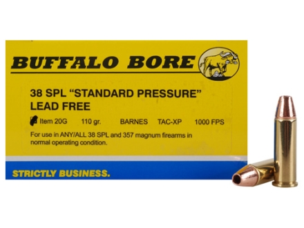 Buffalo Bore Ammunition 38 Special Short Barrel 110 Grain Barnes TAC-XP Jacketed Hollow Point Lead-Free Box of 20