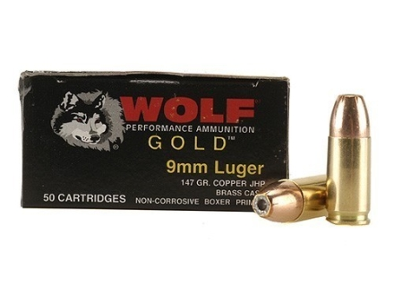 Wolf Gold Ammunition 9mm Luger 147 Grain Jacketed Hollow Point Box of 50