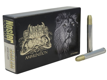 Nosler Safari Ammunition 458 Lott 500 Grain Solid Box of 20