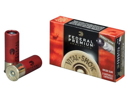 "Federal Premium Vital-Shok Ammunition 12 Gauge 2-3/4"" 1 oz TruBall Hollow Point Rifled Slug Box of 5"
