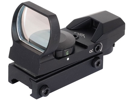 NcStar Tactical Red Dot Sight Red and Green 4-Pattern Reticle (Circle Crosshair with 4 MOA Dot, Circle with 4 MOA Dot, 1 MOA Dot, Crosshair with 4 MOA Dot) Matte