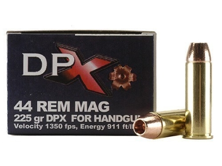 Cor-Bon DPX Ammunition 44 Remington Magnum 225 Grain Barnes XPB Hollow Point Lead-Free Box of 20