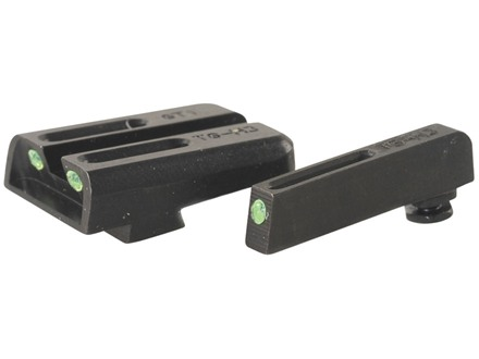 TRUGLO TFO Sight Set Glock 17, 17L, 19, 22, 23, 24, 26, 27, 33, 34, 35, 38, 39 Steel Tritium / Fiber Optic Green