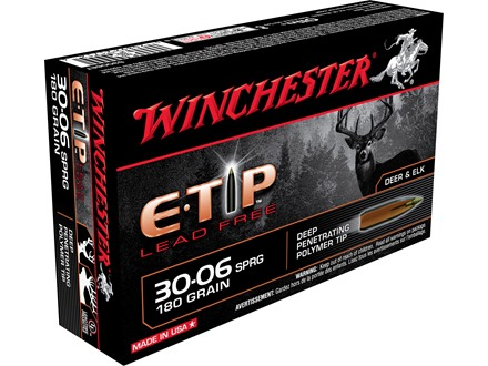 Winchester Supreme Ammunition 30-06 Springfield 180 Grain E-Tip Lead-Free Box of 20