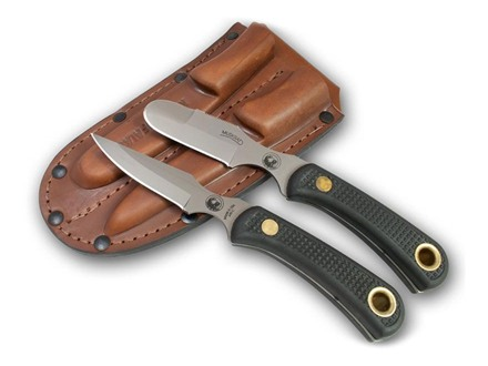 Knives of Alaska Muskrat/Cub Bear Combination Fixed Blade Hunting Knife Set Rubber Handles Black with Muskrat Knife, Cub Bear Caping Knife and Leather Sheath