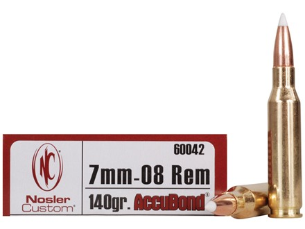Nosler Trophy Grade Ammunition 7mm-08 Remington 140 Grain AccuBond Box of 20