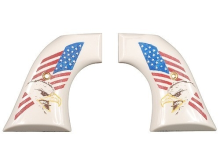 Hogue Grips Ruger Blackhawk, Single Six, Vaquero Ivory Polymer Eagle with Flag Pattern