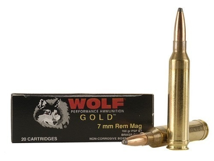 Wolf Gold Ammunition 7mm Remington Magnum 160 Grain Soft Point Box of 20