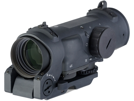 ELCAN SpecterDR Tactical Rifle Scope 1x:4x 32mm Switch Power Illuminated 5.56 Ballistic Crosshair Reticle Matte with ARMS Throw Lever Picatinny-Stye Mount