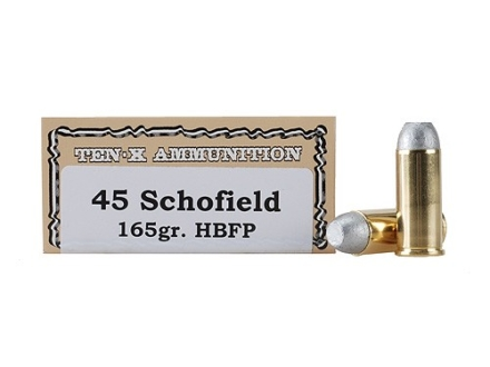 Ten-X Cowboy Ammunition 45 S&amp;W Schofield 165 Grain Hollow Base Flat Point Box of 50