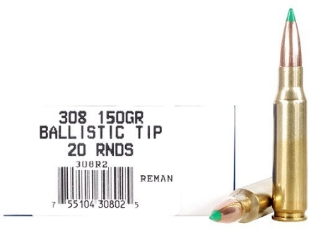 Ultramax Remanufactured Ammunition 308 Winchester 150 Grain Nosler Ballistic Tip Box of 20