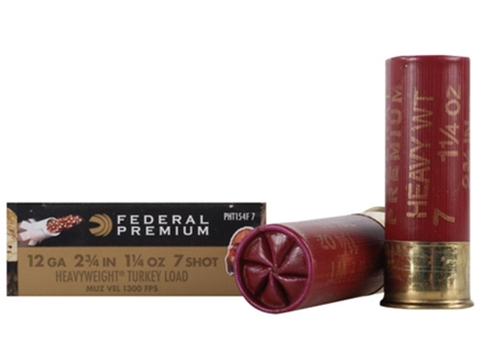 Federal Premium Mag-Shok Low Recoil Turkey Ammunition 12 Gauge 2-3/4&quot; 1-1/4 oz #7 Heavyweight Non-Toxic Shot Flitecontrol Wad Box of 5