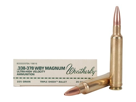 Weatherby Ammunition 338-378 Weatherby Magnum 225 Grain Barnes Triple-Shock X Bullet Hollow Point Lead-Free Box of 20
