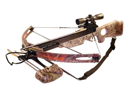 Arrow Precision Inferno Blitz II Crossbow Package with 4x 32 Multi Reticle Illuminated Crossbow Scope Oak Grove Fall Camo