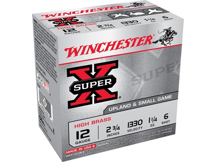 "Winchester Super-X High Brass Ammunition 12 Gauge 2-3/4"" 1-1/4 oz #6 Shot"
