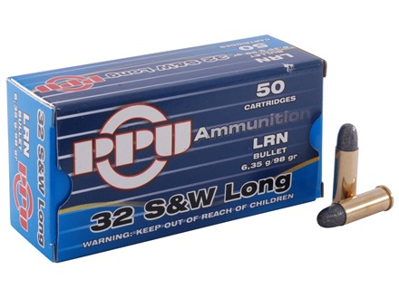 Prvi Partizan Ammunition 32 S&amp;W Long 98 Grain Lead Round Nose Box of 50