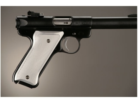 Hogue Extreme Series Grip Ruger Mark II, Mark III Checkered Brushed Aluminum Gloss Clear