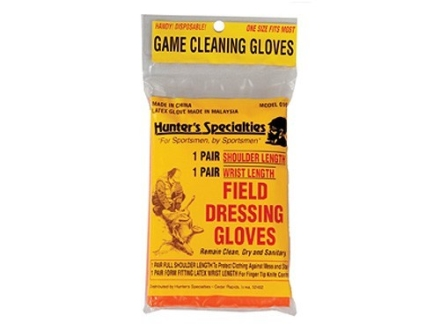 Hunter's Specialties Field Dressing Gloves Combo with Wrist Length and Shoulder Length Latex Gloves