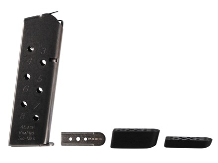 Kimber Kim-Pro Tac-Mag Magazine with 3 Base Pads 1911 Government, Commander 45 ACP 8-Round Stainless Steel