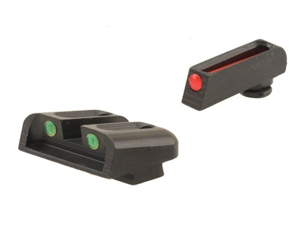 TRUGLO Brite-Site Sight Set Glock 17, 17L, 19, 22, 23, 24, 26, 27, 33, 34, 35, 38, 39 Steel Fiber Optic Red Front, Green Rear