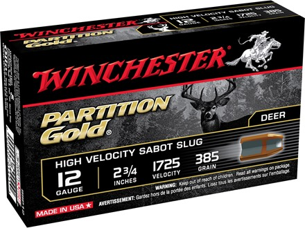 "Winchester Supreme Ammunition 12 Gauge 2-3/4"" 385 Grain Partition Gold Sabot Slug Box of 5"