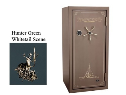 Browning Medallion M39F Fire-Resistant Safe 24/35 +10 Duo Plus Hunter Green Metallic with Tan Interior and Whitetail Scene