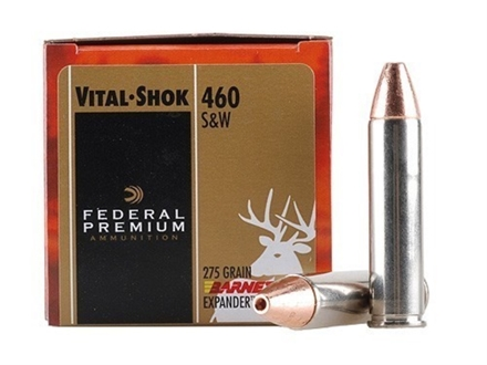 Federal Premium Vital-Shok Ammunition 460 S&amp;W Magnum 275 Grain Barnes XPB Hollow Point Lead-Free Box of 20