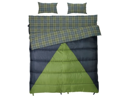 "Slumberjack Bonnie & Clyde 30 Degree Sleeping Bag 68"" x 78"" Polyester Navy and Green"
