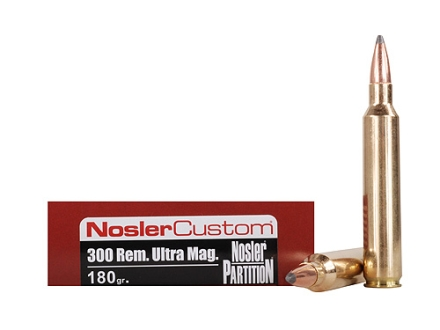 Nosler Trophy Grade Ammunition 300 Remington Ultra Magnum 180 Grain Partition Spitzer Box of 20