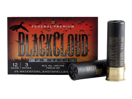 Federal Premium Black Cloud Ammunition 12 Gauge 3&quot; 1-1/4 oz BB Non-Toxic FlightStopper Steel Shot
