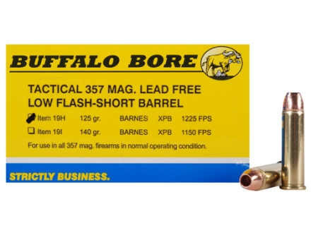 Buffalo Bore Ammunition 357 Magnum Short Barrel 125 Grain Barnes TAC-XP Jacketed Hollow Point Low Flash Lead-Free Box of 20