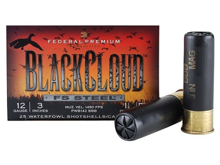 Federal Premium Black Cloud Ammunition 12 Gauge 3&quot; 1-1/4 oz  BBB Non-Toxic FlightStopper Steel Shot Box 25