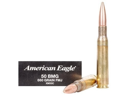 Federal American Eagle Ammunition 50 BMG 660 Grain XM33 Full Metal Jacket Box of 10
