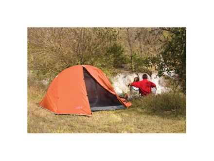 Coleman Hooligan 2 Man Dome Tent 96&quot; x 72&quot; x 56&quot; Polyester Dark Orange and White